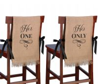 Her One, His Only Rustic Burlap Chair Covers